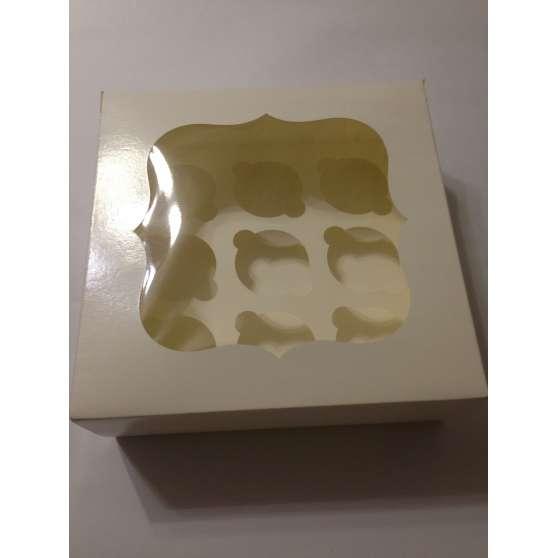 Коробка для 9 кексов с окошком 25х25х9см
