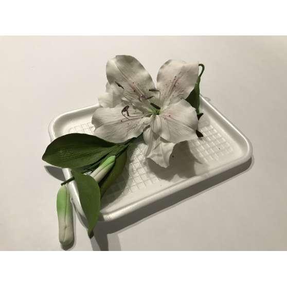 """Авторские цветы """"Лилия с листями и бутонами"""""""""""