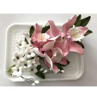 """Авторские цветы """"Букет орхидеи с листиками и колокольчиками"""""""