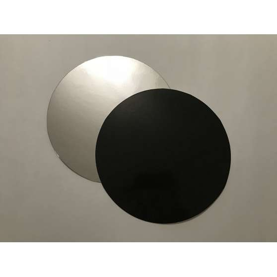 Подложка под торт круглая Д-24.5 (чёрно/серебро)