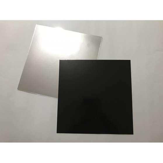 Подложка под торт квадрат 29,5х29,5 (чёрно/серебро)