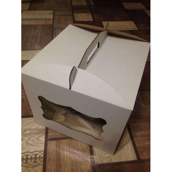 Коробка для торта самосборная 28х28х30 с окошком