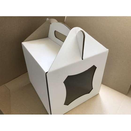 Коробка для торта самосборная 22х22х20 с окошком