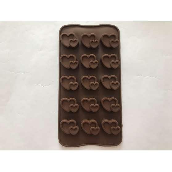 """Форма силиконовая для конфет 15шт на планшете """"Сердце двойное"""""""