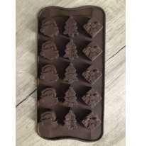 Форма силиконовая для конфет (15шт на планшете) Новогодняя